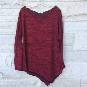 Cuky tunic top maroon with black heathering Sz XL